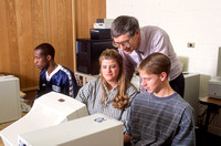 Students work in the Computer Lab on campus. November 1996.