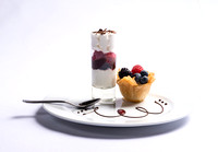 Phylo Cup with Custard and Berries/Brownie Raspberry Parfait