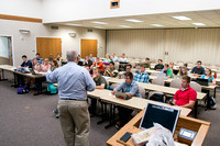 Brother Duane Adamson teaches his Political Science class in the Hinckley Building during the 2014 Spring Semester.
