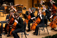 Students in the University Orchestra  during a dress rehearsal in preperation before their end of the semester concert.