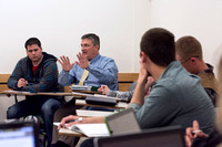 Brother Roberts talks with his Sociology class during the 2014 Spring Semester.