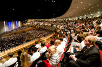 Students gather in the BYU-Idaho Center for devotional to listen to Elder Holland.