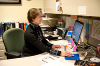 Diane Soelberg, Brigham Young University-Idaho's Music Deparment's Chair, sitting at her desk.