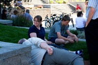 Former students of Ricks College and Brigham Young University-Idaho come to a barbecue held with their families at the amphitheater in front of the McKay Library.