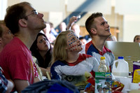 Students gather in the MC Crossroads to watch USA play Germany in Brazil during the 2014 Fifa World Cup.
