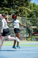 Brigham Young University-Idaho's men's and women's tennis teams compete with each other on the tennis court.