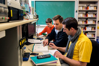 Students work and study in the Electrical Engineering labs in the Austin Building.