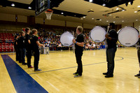 The Drumline from BYU-I comes onto the floor right before the Slam Dunk Contest begins.