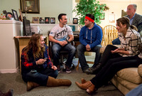 Students at Brigham Young University-Idaho participate in Family Home Evening held at a member of their bishopbric's home.