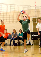 Teams compete in the mens volleyball play offs.