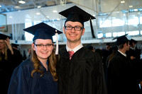 Graduates gather and march in during the processional for April 2014 Graduation ceremonies in the BYU-Idaho Center.
