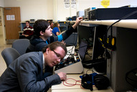 Students find their hearing range in the Electrical Engineering labs in the Austin Building.