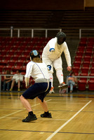 Brigham Young University-Idaho students participate in a fencing tournament held in the Hart Gym.
