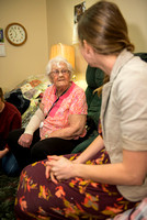 Students at Brigham Young University-Idaho visit a senior center in Rigby, Idaho and spend time with the senior citizens there.
