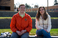 Students talk outside the library on the first day of the 2014 Spring Semester.