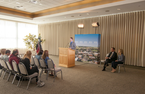 A press conference was held in Special Events room in the Manwaring Center that featured BYUI's new president, Clark Gilbert, and his wife.