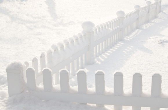 fence accumulates snow in the ricks gardens