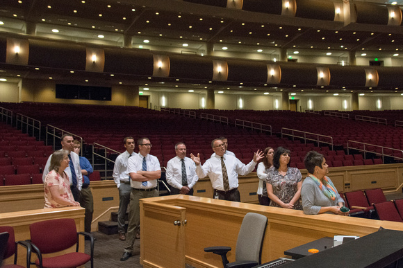 Human Resources takes new employees on a tour of the BYU-Idaho Center.