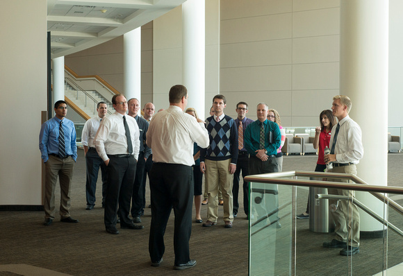 New employees get a tour of the BYU-Idaho Center.
