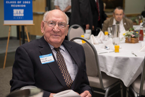 Centurion Eldred Stephenson attending the Emeritus Breakfast.<br/>Alumni of the class of 1963 were inducted into the ranks of emeritus status. Also, David and Sara Lee Gibb were honored as the Alumni