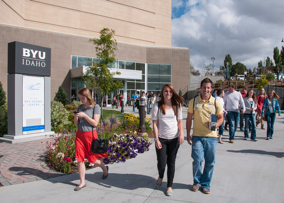 Students depart from the BYU-Idaho Center after devotional.