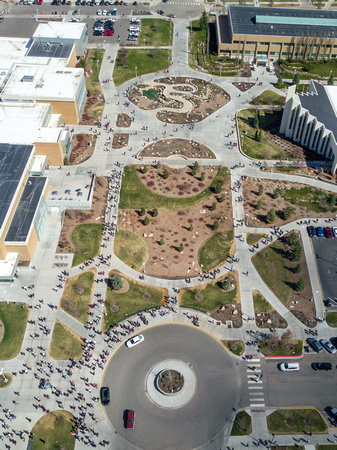 An aerial view of campus on a Tuesday before devotional.