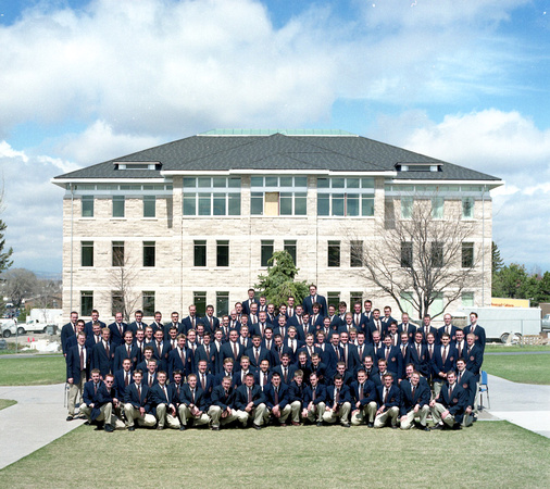 Men's Choir in front of the new Spori building 2003