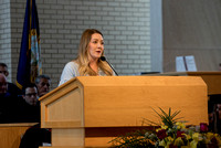 Camie Munns, alumni representative speaks at the College of Eduation and Human Development convocation.