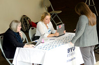 BYU-Idaho student speak to the BYU-Idaho Internship representatives before entering a career fair held in the I-Center gym