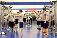 Students workout in the fitness center in the Hart building.