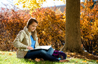 Leanna Davidson enjoys the fall weather as she studies outside