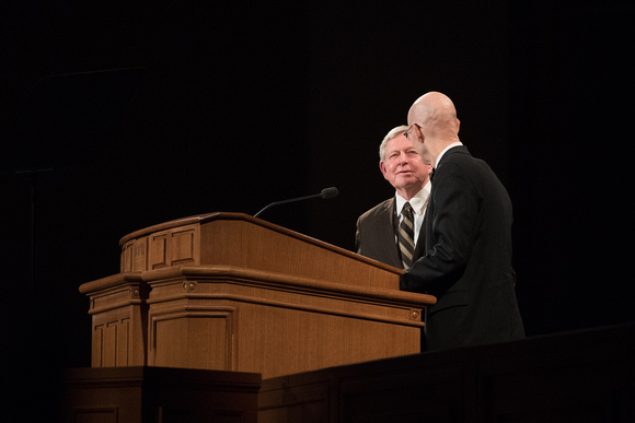 BYU-Idaho First Winter Semester Devotional. President Eyring addresing the Students while having the stake Partiarch share his experience on living the Honor Code. Jan 2018