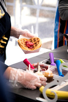 This IBC company makes waffles in front of the McKay Library.