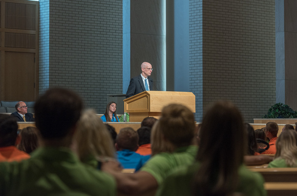 Get Connected volunteers receive training and motivation at the Spirit Conference from President Henry J Eyring.