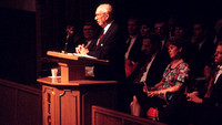 President Gordon B. Hinckley speaking at a fireside at Rick's College.