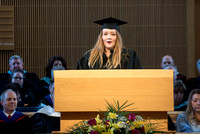 Emily Nicole Stearman graduates from Marrige and Family Studies, speaks at the College of Eduation and Human Development convocation.