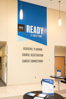 A kiosk is setup in the MC near Legacy Hall where students can get help with their academic planning.