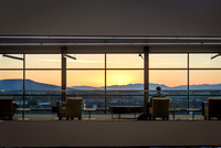 A view of the sunset over the mountains through the windows in the STC.