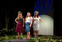 BYU–Idaho students model dresses and clothes they designed as well as bouquets that were designed by students.