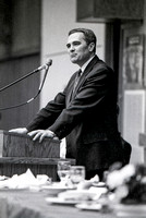 President Steven D. Bennion addresses the audience. March 1994.