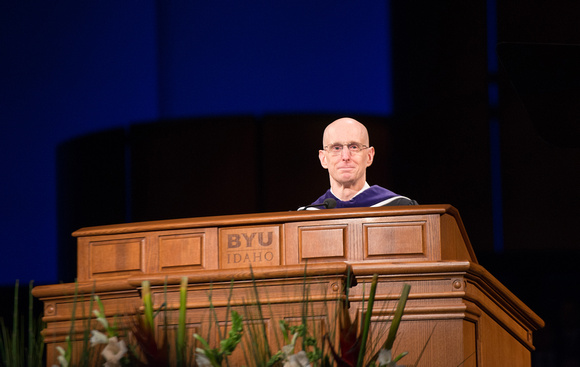 President Henry J. Eyring speaks at graduation.