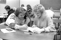 Students work in the Math Lab on campus. November 1990.