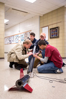 The Rocket Team from the Mechanical Engineering Department gather together to prepare for their rocket launch.