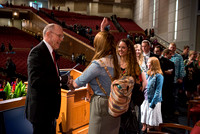 Russel T. Osguthorpe, the president of the the General sunday School, greets students and employees after devotional.