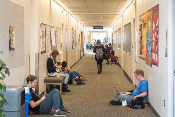 Students find places to study in the Ricks Building.