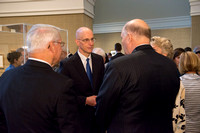 Friends and family gather in the Spori Art Gallery where President Henry B. Eyring's artwork is on display. Sept 19, 2017.