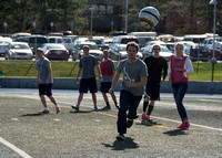 Matt Stoker chases a loose soccer ball before it goes out of bounds on the first day of the ESS 148 Soccer class.