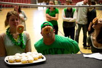 Doughnut eating contest required players to eat a doughnut without using their hands.
