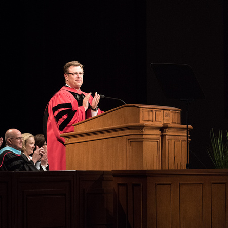 President Gilbert speaks at graduation.