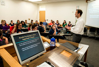 Rob Wright, an adjunct faculty, teaches an advanced Health Psychology class.